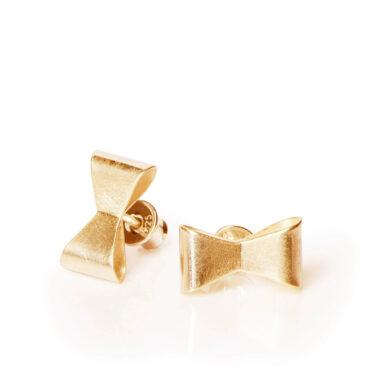 ALE. Kolczyki KOKARDKI (K/K -210x - AG/AU), srebro złocone