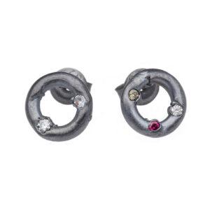 ALE. Kolczyki ID - enso (ID/K -2- OX), srebro oksydowane