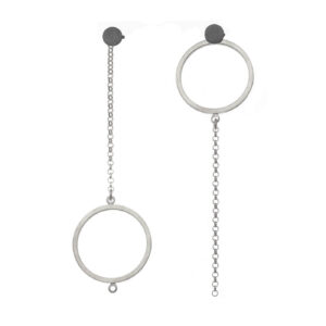 ALE. DOTS earrings (K/K -3- AG/X), silver and oxidised silver