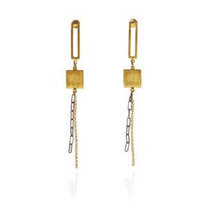 ALE. Kolczyki QUADRAT (Q/K -6- AU/X), srebro złocone i oksydowane
