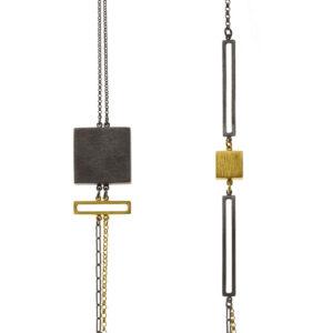 ALE. Naszyjnik QUADRAT (Q/N -1- AU/X), srebro złocone i oksydowane