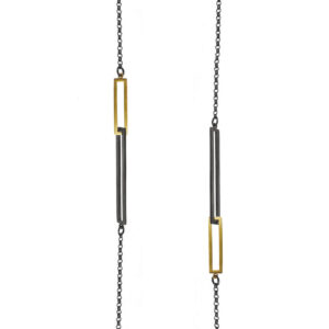 ALE. Naszyjnik QUADRAT (Q/N -12- AU/X), srebro złocone i oksydowane