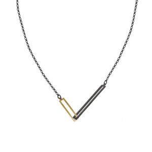 ALE. Naszyjnik QUADRAT (Q/N -13- AU/X), srebro złocone i oksydowane