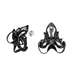 ALE. BIONIC earrings (B/K -11- CH), black chrome-plated stainless steel